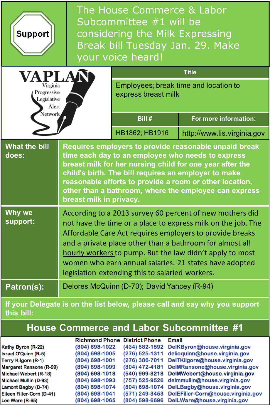 ALERT: Require employers to provide break and space for worker's to express milk, House Commerce & Labor Subcommittee 1, Tuesday Jan. 29.