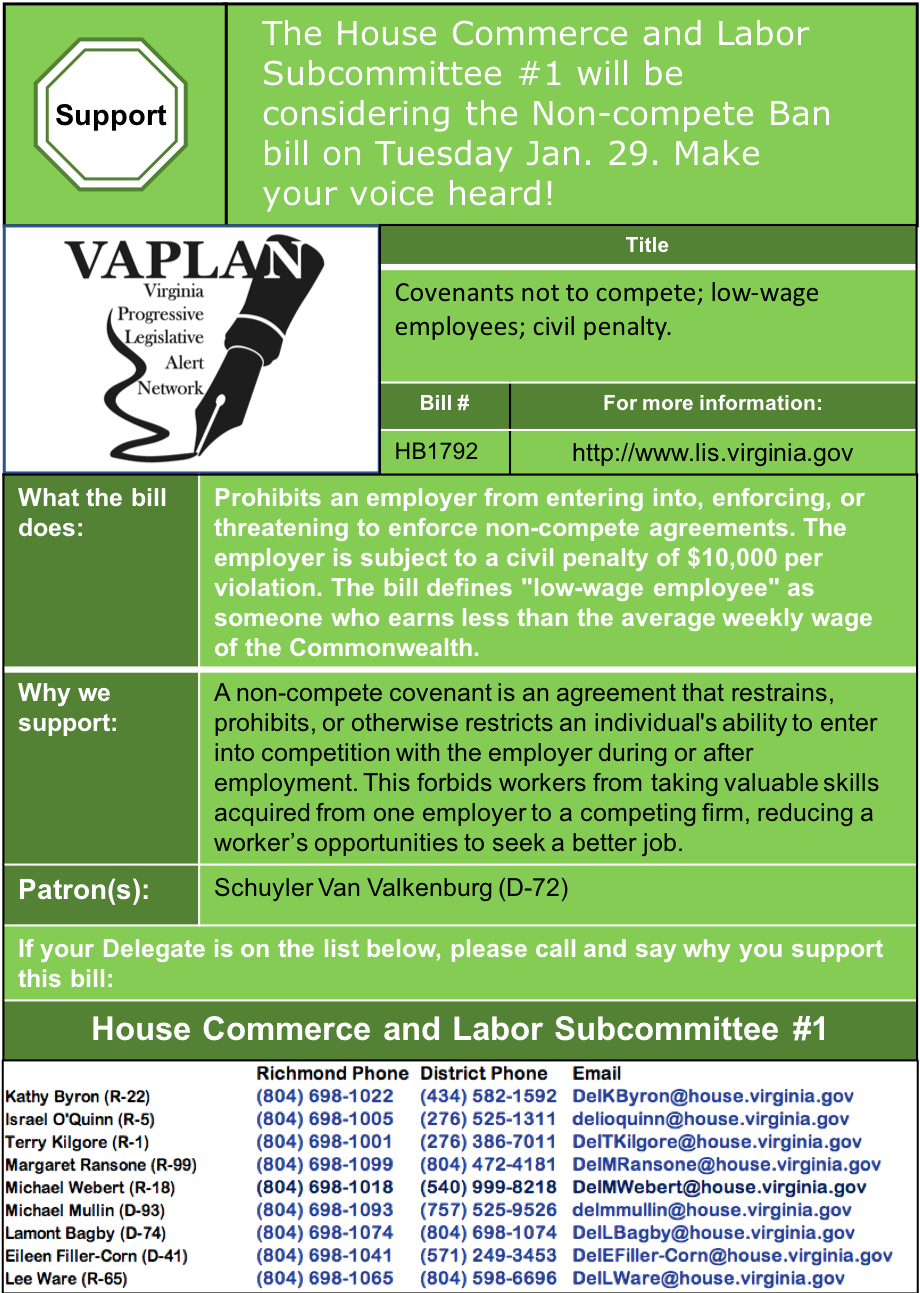 ALERT: Ending non-compete clauses is being heard in House Commerce & Labor Subcommittee Tuesday Jan. 29!