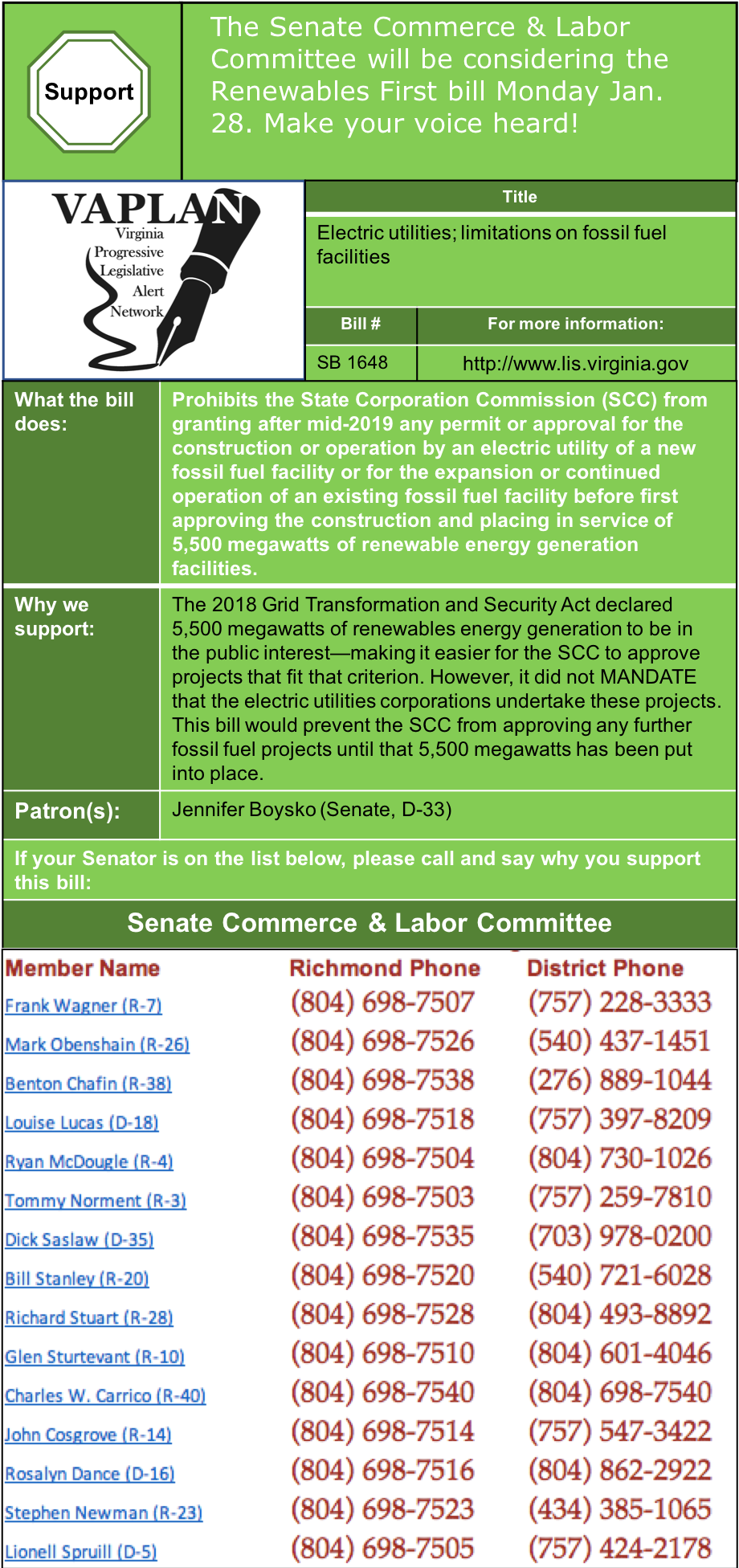 ALERT: Senate Commerce & Labor to consider Renewables First bill on Monday Jan. 28.